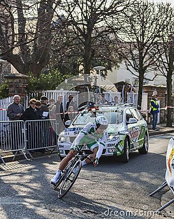 Den cyklistSimon Julien- Paris Nice prologen 2013 Redaktionell Foto