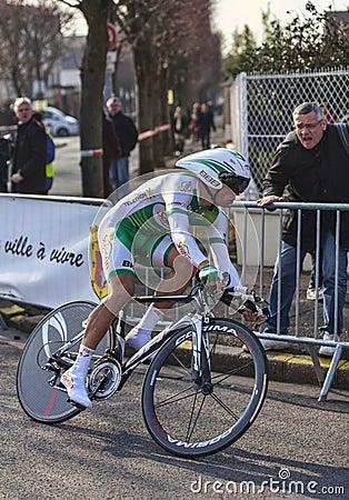 Den cyklistSimon Julien- Paris Nice prologen 2013 Redaktionell Fotografering för Bildbyråer