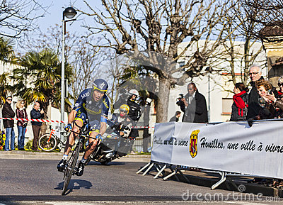Den cyklistSorensen Nicki- Paris Nice prologen 2013 Redaktionell Foto