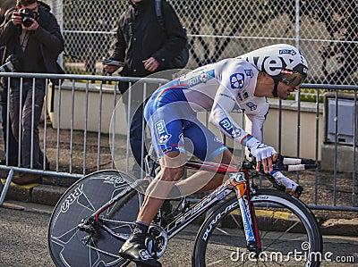 Den cyklistSoupe Geoffrey Paris Nice prologen 2013 Redaktionell Arkivbild