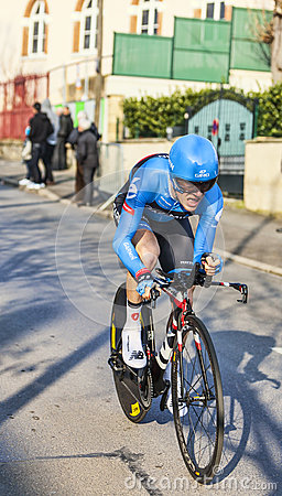 Den cyklistTalansky Andrew Paris Nice prologen 2013 i Houille Redaktionell Arkivbild