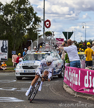 Den franska cyklisten Cyril Lemoine Redaktionell Foto