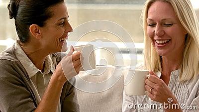 In den Freunden der Zeitlupe zwei, die auf der Couch zu Hause plaudert über Kaffee sitzen stock video footage