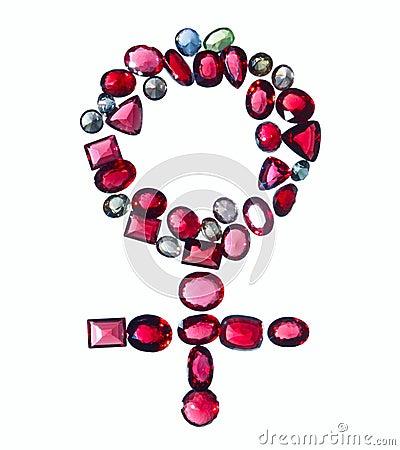 Den färgrika kvinnliggenuset pryder med ädelsten tecknet