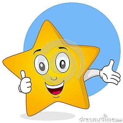 Den gula stjärnan tumm upp tecken
