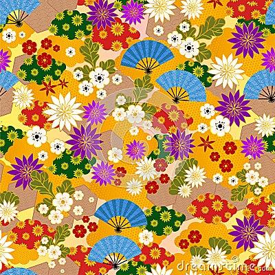 Den japanska kimonoen mönstrar