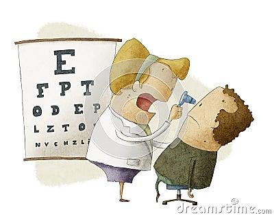 Den kvinnliga ögonläkaren undersöker tålmodign