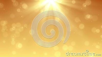 Den Loopable solstrålen och partiklar vinkar bakgrunder - guld- färg