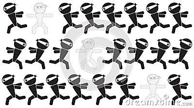 Den Ninja manen undertecknar kamouflage