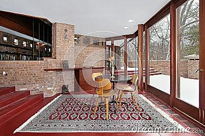 Den with red floor