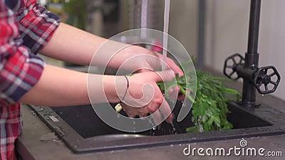 Den unga hemmafrun tvättar gräsplaner i diskhon arkivfilmer