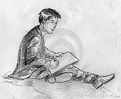 Den unga konstnären skissar