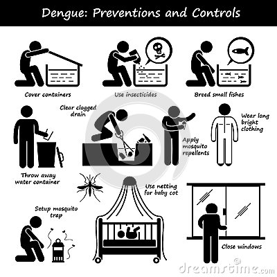 Stock Illustration Dengue Fever Preventions Controls Aedes Mosquito Breeding Set Human Pictogram Representing How To Prevent Controlling Image52405328