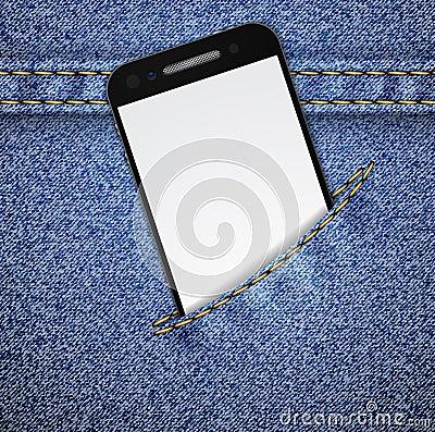 Denim background with smartphone.