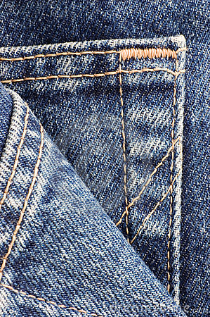 Denim Blue Jeans Pocket Detail Macro Closeup
