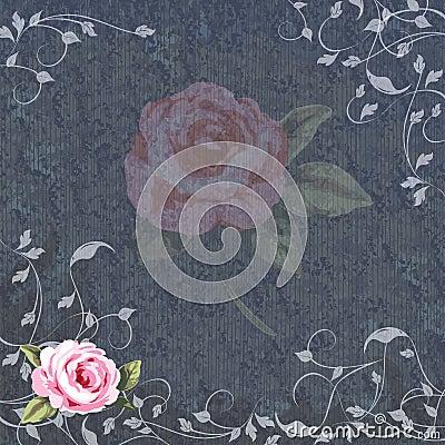 Denim and Floral wedding invitation