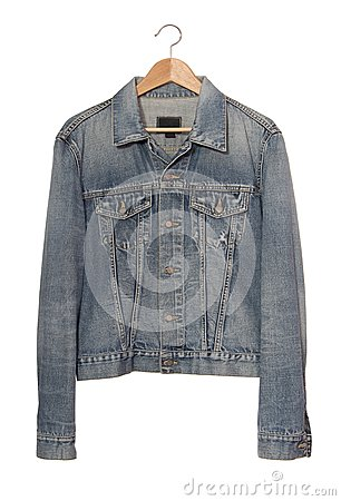 Denim jacket  on coat-hanger