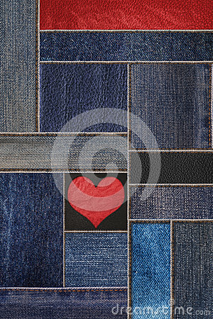 Free Denim Jeans With Leather Texture, And Heart Shape Background, Patchwork Denim Jean With Leather Pattern Stock Photography - 83281972