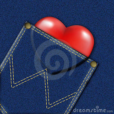 Denim pocket with heart