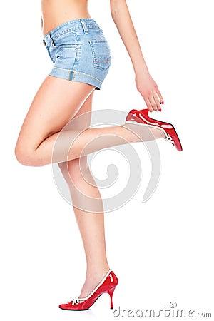 Denim skirt and sexy legs