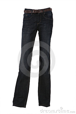 Denim trousers on a mannequin with belt