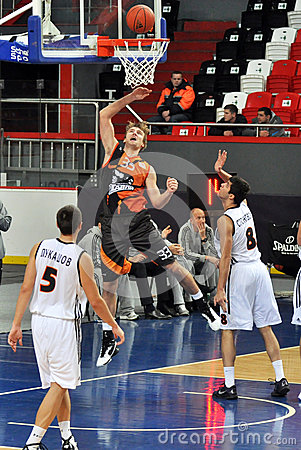 Denis Yakovlev throws the ball in the basket Editorial Stock Photo
