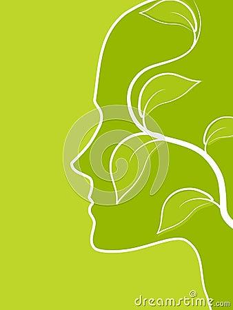 Denken Sie grüne Gesichts-Profil-Blatt-Rebe