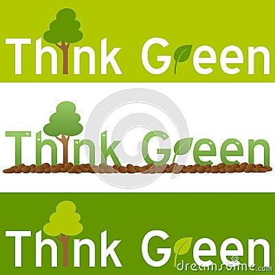 Denken Sie grüne Konzept-Fahne