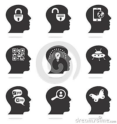 Denkende hoofdsilhouetpictogrammen
