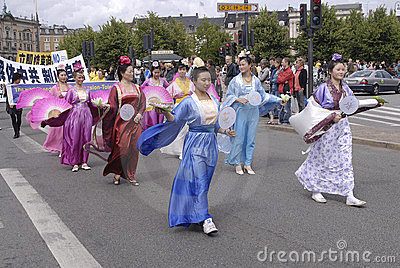 DENMARK FALUN GONG PROTEST AGAINST CHINA Editorial Stock Photo