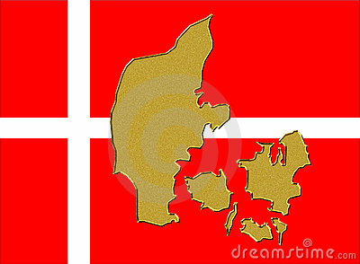 Denmark flag and map