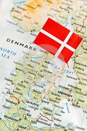 Denmark flag on map