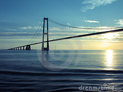 Denmark: Great Belt Suspension Bridge at Sunset