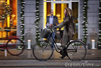 Denmark: Green traffic in Copenhagen Editorial Stock Image