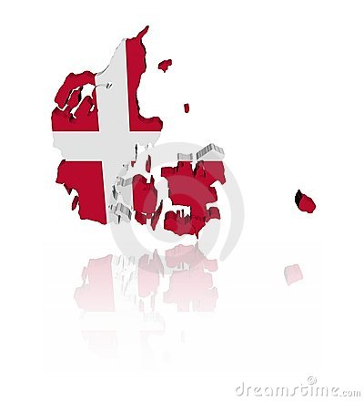 Denmark map flag with reflection