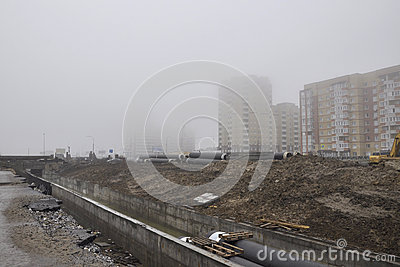 Dense fog in the city, houses practically it isn t visible Editorial Stock Photo