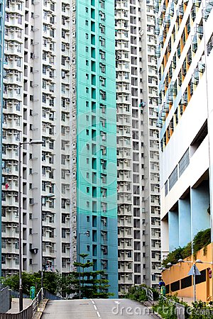 Free Dense High-rise Public Housing At HK With Colorful Wall Royalty Free Stock Images - 119335159
