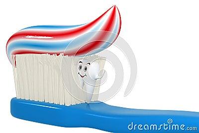 Dent 3d de sourire se cachant dans la brosse à dents - d isolement
