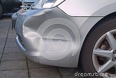 A dent in a car