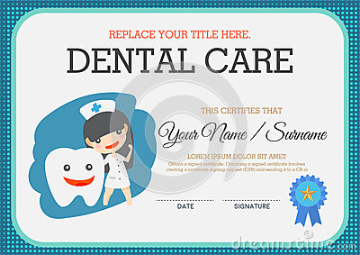 dental gift certificate template dental care certificate stock vector image 63310430