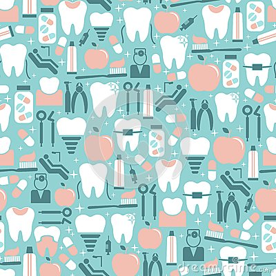 Free Dental Care Graphics On Blue Background Royalty Free Stock Photos - 44353018