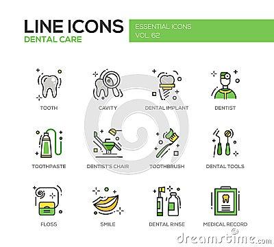 Free Dental Care - Line Design Icons Set Stock Images - 76879144