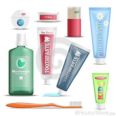 Free Dental Care Products Realistic Set Stock Photo - 109218510
