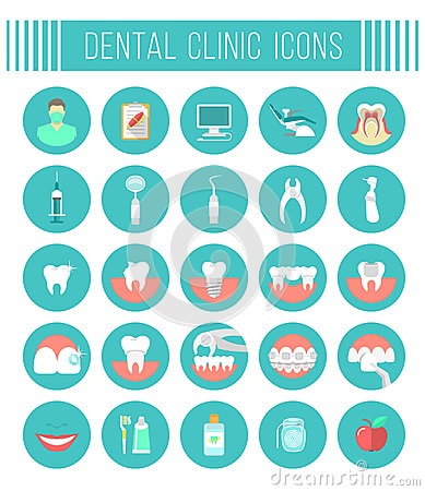 Free Dental Clinic Services Flat Icons Stock Photos - 57126463