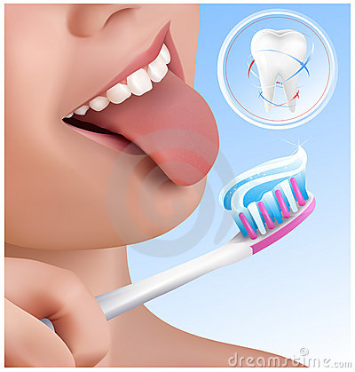 Dental concept. Kid brushing teeth.