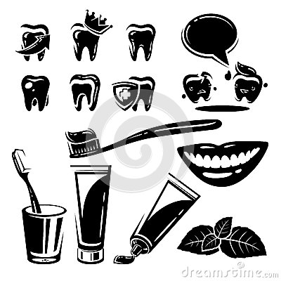 Dental element and Icons set. Vector