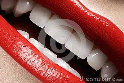 Dental. Happy smile with red lips make-up, white healthy teeth