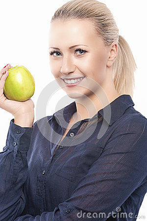 Free Dental Health Concept: Causasian Blond Female With Green Apple I Stock Photography - 43186472
