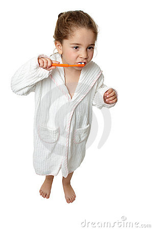 Dental Hygiene - girl brush teeth with toothbrus