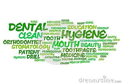 Dental hygiene word cloud Stock Photo